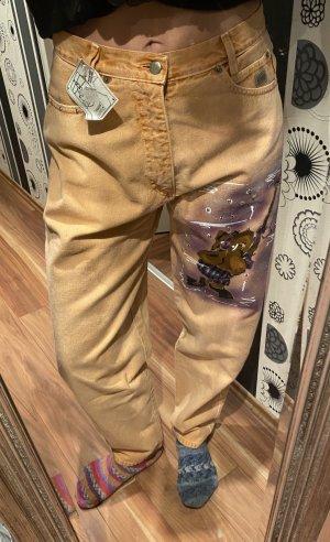 Ausgefallene 90er Jahre True Vintage High waist Jeans Orange mit Buntem Elefanten W:33