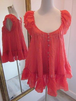 Ausgefallene Bluse Orangerot Gr M #Iconoclast