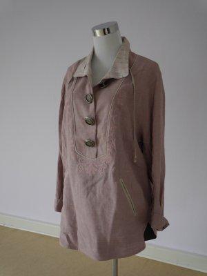 Ausgefallene Bluse, Schlupfbluse, Leinen, Kängurutaschen  rosa, Stickereien, Langarm, Muster innen