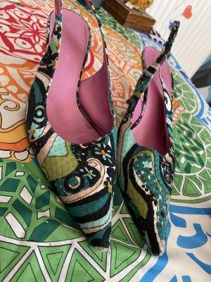 Ausgefallene bunte Dolce&Gabbana Slingbacks Sommer Schuhe  spitz Gr 41