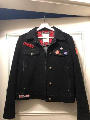 Esprit Giacca di lana nero-rosso mattone Viscosa