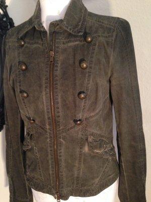 ausgefallene Jacke von Marc Cain, mit Etikett, Größe 36, grau/braun
