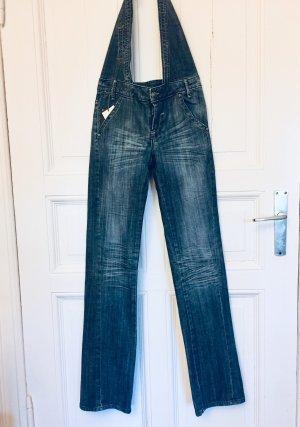 Jeans vita bassa blu scuro-marrone