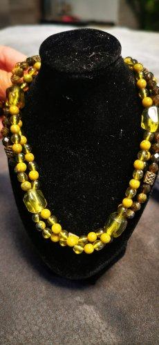 Naszyjnik z perłami oliwkowy-khaki