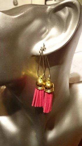 Ausgefallene lange Ohrringe pink, Gold