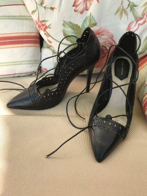 Zara Woman Tacones con cordones negro Cuero