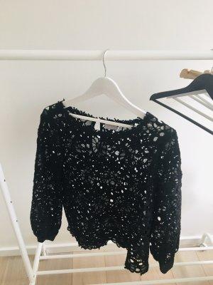 Ausgefallene schwarze Bluse Spitze Vila Gr.L