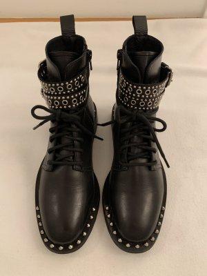 Bottillons noir-argenté cuir