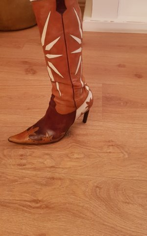 debut Buty w stylu western cognac-kremowy