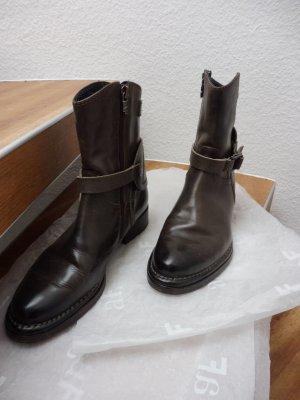 AF Bottines à fermeture éclair kaki cuir