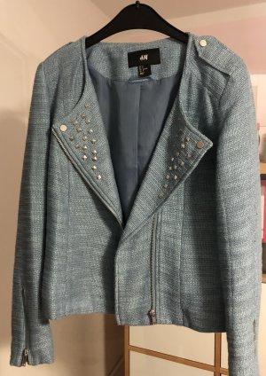 H&M Blazer in maglia argento-azzurro