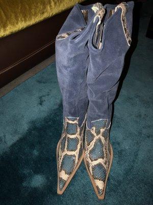 Buty w stylu western chabrowy-w kolorze białej wełny