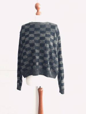 Knitted Wrap Cardigan dark blue-silver-colored