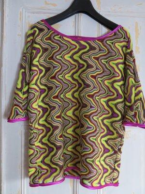 ausgefallener Häkel Pullover im Missoni Look, Gelb Limette Grün Violett, Gr. 42, Boho Style