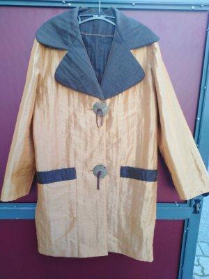 Ausgefallener Mantel Gr. 42 in Messing und Braun