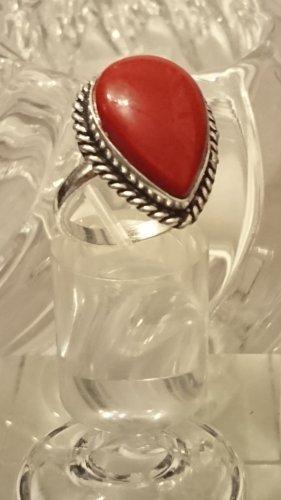 Ausgefallener Silber Ring rote Koralle Gr.20