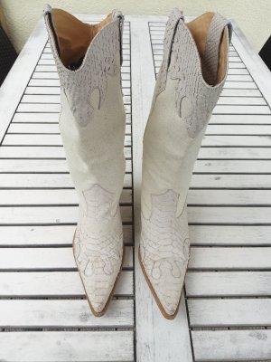 Botas estilo vaquero blanco puro-beige claro