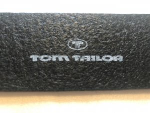 Tom Tailor Cinturón de cuero negro-color plata