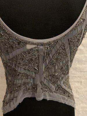 Asos Blusa sin espalda color plata-gris