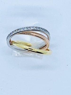 Ausgefallener, wunderschöner Ring Tricolore mit Zirkoniasteinchen