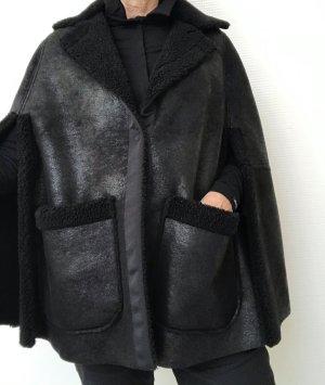 8PM Capa negro tejido mezclado