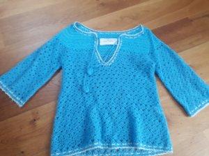 by Malene Birger Crochet Sweater azure-white mixture fibre