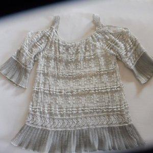 Top en maille crochet gris clair coton
