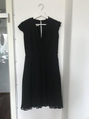 Mango Vestido de manga corta negro tejido mezclado