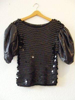 Sweter z krótkim rękawem czarny Tkanina z mieszanych włókien