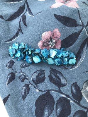italienische Handarbeit Brazalete de perlas azul neón