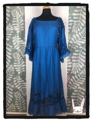 Anthropologie Midi Dress blue-neon blue cotton