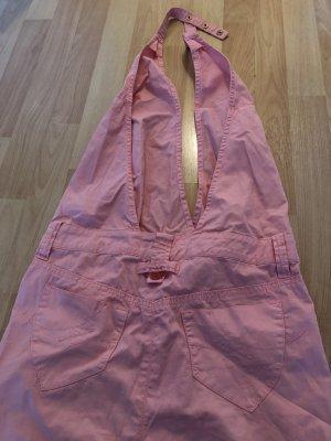 Fornarina Sukienka z dekoltem typu halter różowy Bawełna