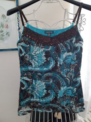 Street One Lace Top brown-turquoise