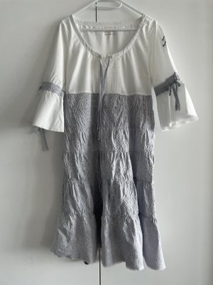 Odd Molly Vestido estilo flounce blanco-gris claro Algodón