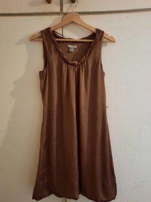 H&M Sukienka z rękawem balonowym szaro-brązowy