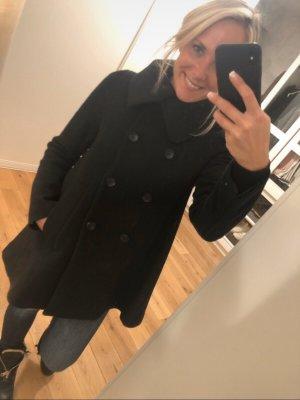 Ausgestellter Mantel Schwarz