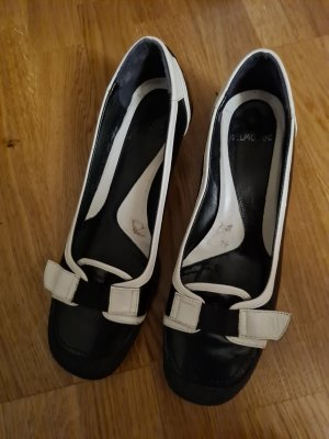 Belmondo Czółenka z rzemykami biały-czarny