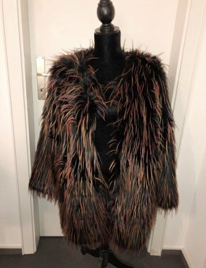 H&M Trend Fake Fur Jacket bordeaux-black