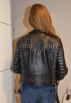 Asos Giacca da motociclista nero-grigio Pelle