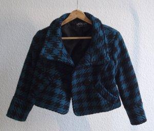 Veste en laine bleu pétrole-noir laine
