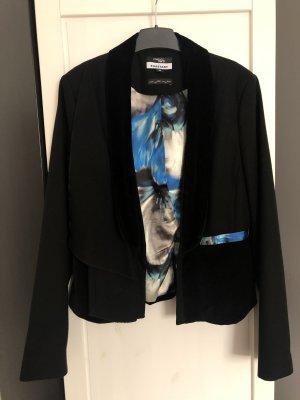 Außergewöhnlicher Blazer mit Samtdetails in schwarz