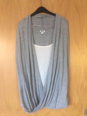 außergewöhnliches DKNY Top, Gr. L, ideal für kleine Problemzonen, grau/weiß
