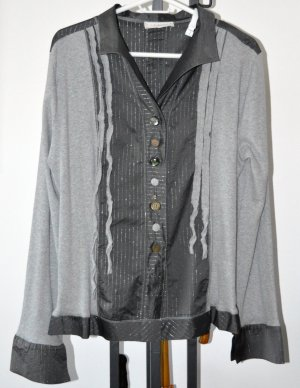 Elisa Cavaletti Long Sleeve Blouse anthracite-silver-colored polyester