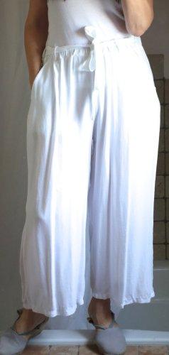 Aust Fashion Culotte, weite Hose, sommerlich leichter Stoff, leichte Viskose, Gummizug, Taschen, Bindegürtel, weiß, hoher NP, Italy, NEU, ungetragen, Gr. M