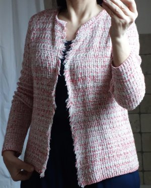 Aust Cardigan in maglia bianco sporco-rosso neon Tessuto misto