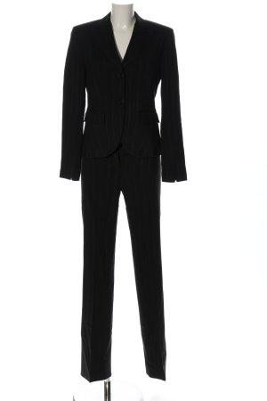 Aust Trouser Suit black striped pattern business style