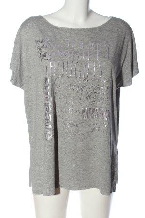 Aust T-shirt imprimé gris clair moucheté style décontracté