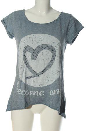 Aust T-shirt jasnoszary-niebieski Nadruk z motywem W stylu casual