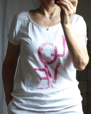 Aust T-shirt imprimé blanc-rose coton