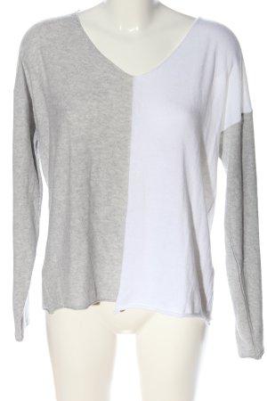 Aust Sweter z dekoltem w kształcie litery V jasnoszary-biały Melanżowy